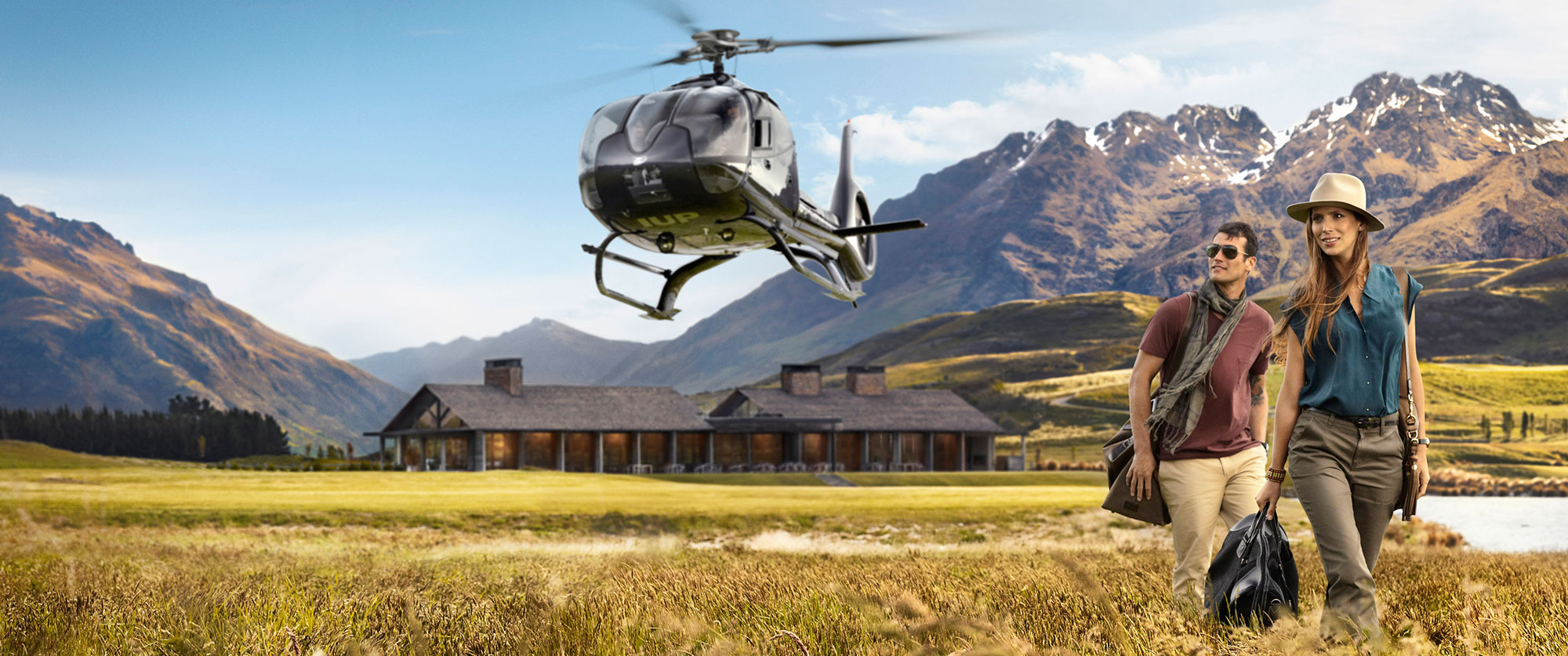 Landing via a helicopter in Jack's Point near Queenstown in New Zealand